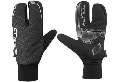 Zimní rukavice Force HOT RAK, 3-prsté, černá