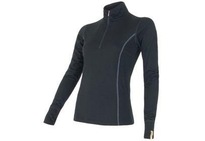 Dámské triko Sensor Merino Wool Active, dlouhý rukáv, ZIP - černá