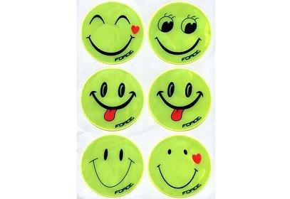 Sada nálepek reflexních žlutých FORCE SMILE, 6 ks